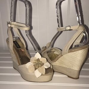 White House Black Market flower wedges